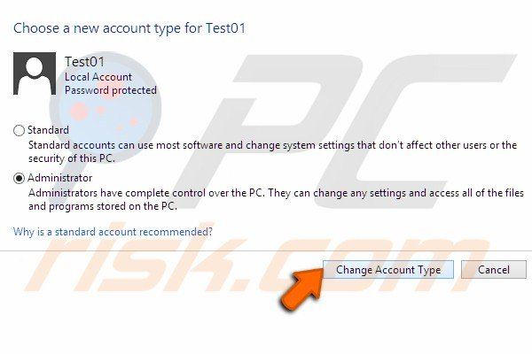 Change account to administrator step 8