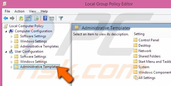 Going to Administrative Templates