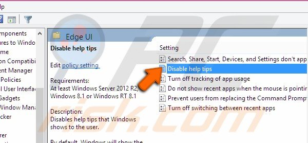 Clicking on Disable help tips