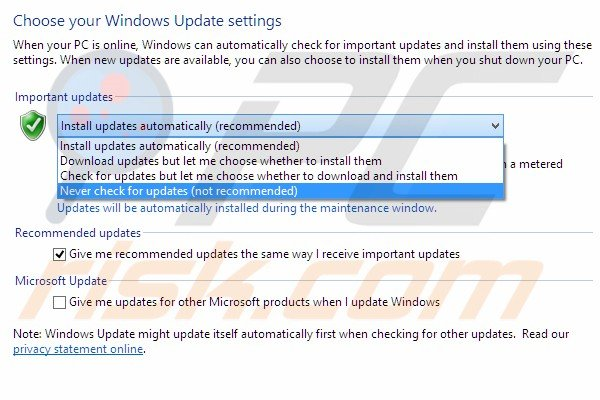 Windows update turn off step 6