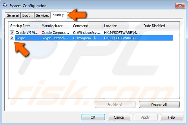 how to disable startup programs using system configuration utility step 2
