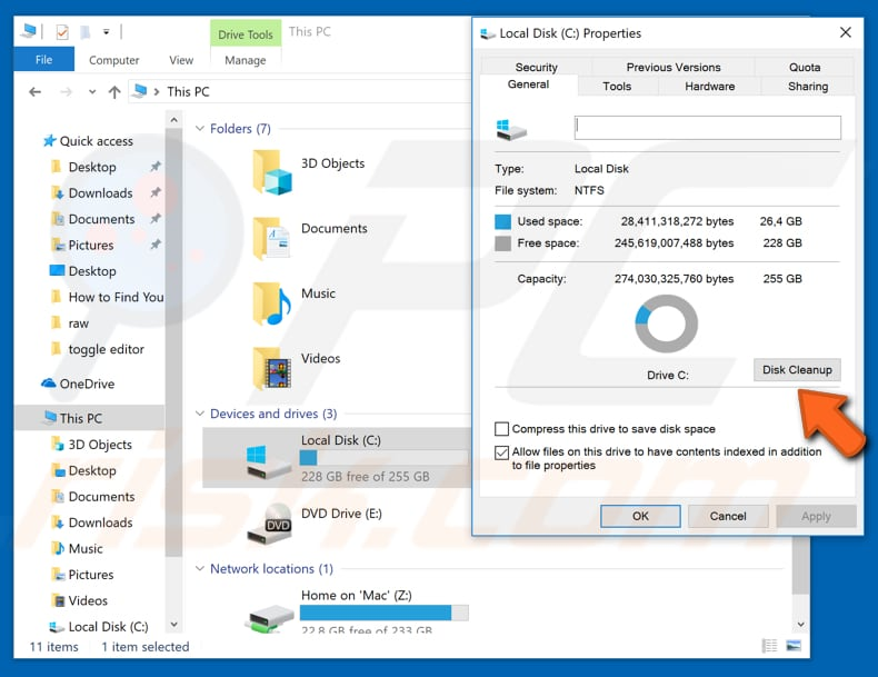 delete windows.old folder using disk cleanup tool step 2