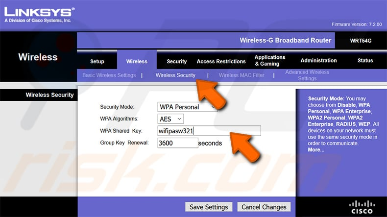 find your wi-fi password linksys wrt54g router step 2