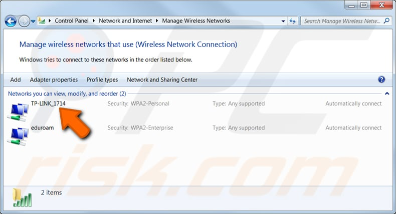 find wi-fi password of a network you previously connected in windows 7 step 3