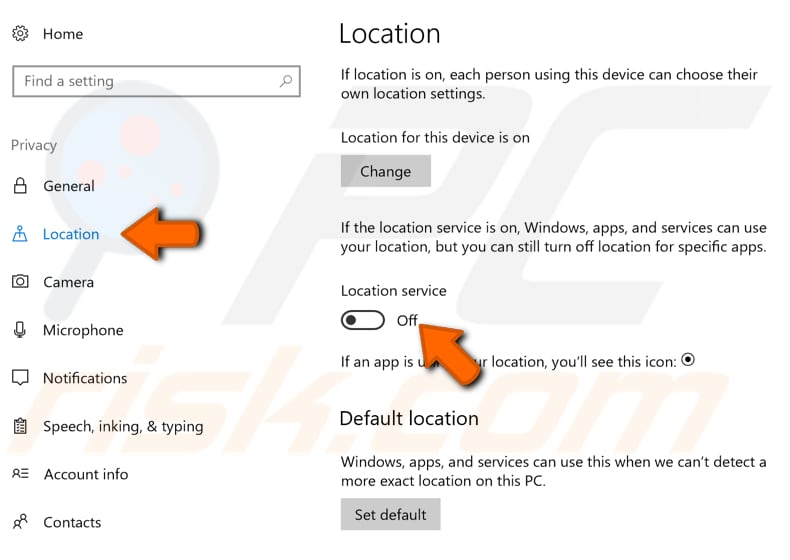 turn off your location tracking in windows 10