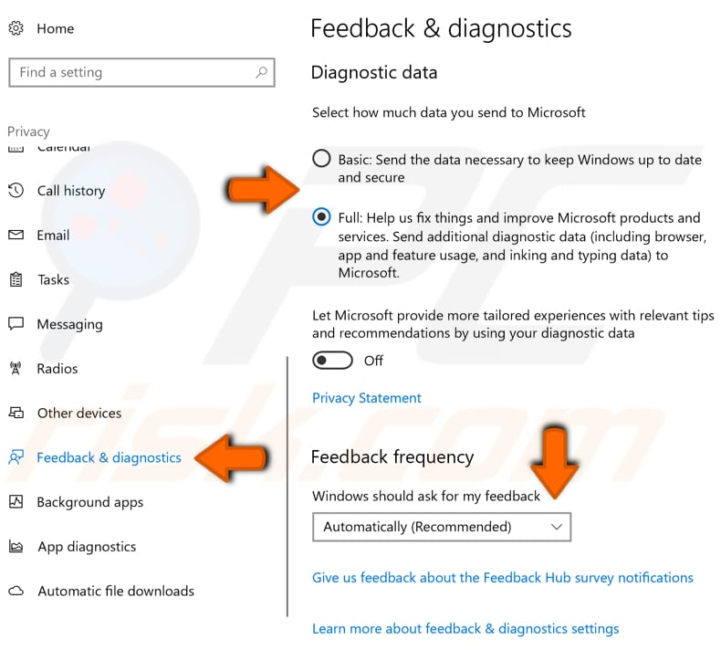 turn off feedback and diagnostics in windows 10