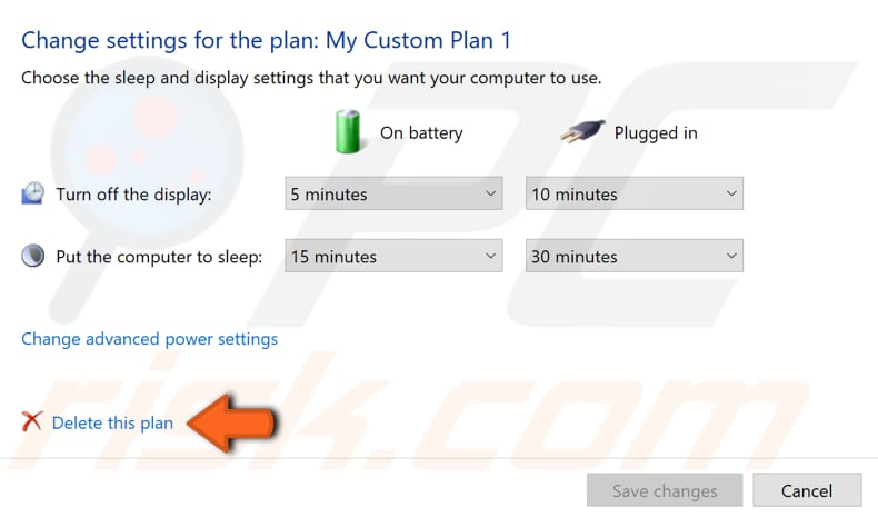 how to delete a power plan step 2