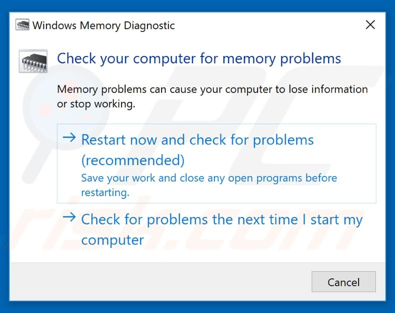 how to test your ram using windows memory diagnostic tool step 2
