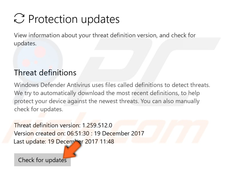 update your windows defender step 2