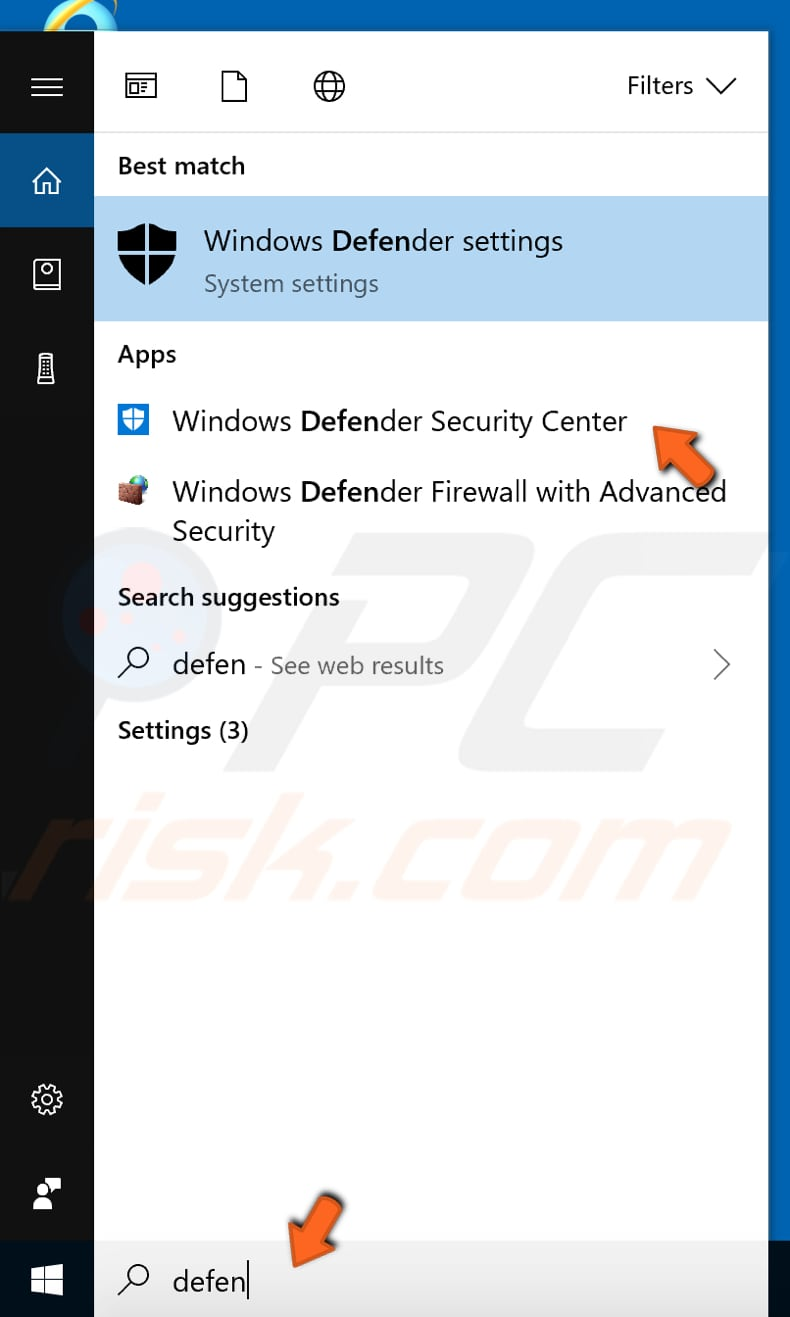 check windows defender scan history and quarantined items step 1