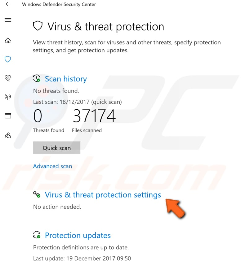 adjust your virus protection settings step 1