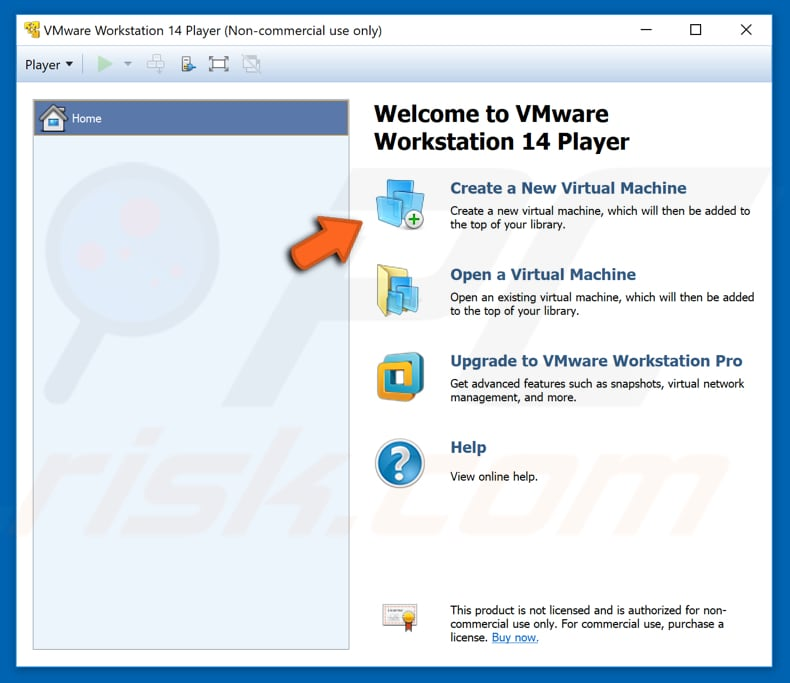 how to create virtual machine with VMware workstation 14 player step 1