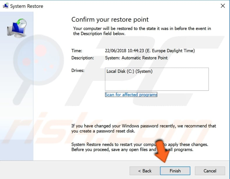 use system restore feature step 4