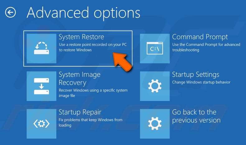restore your system using restore point step 3