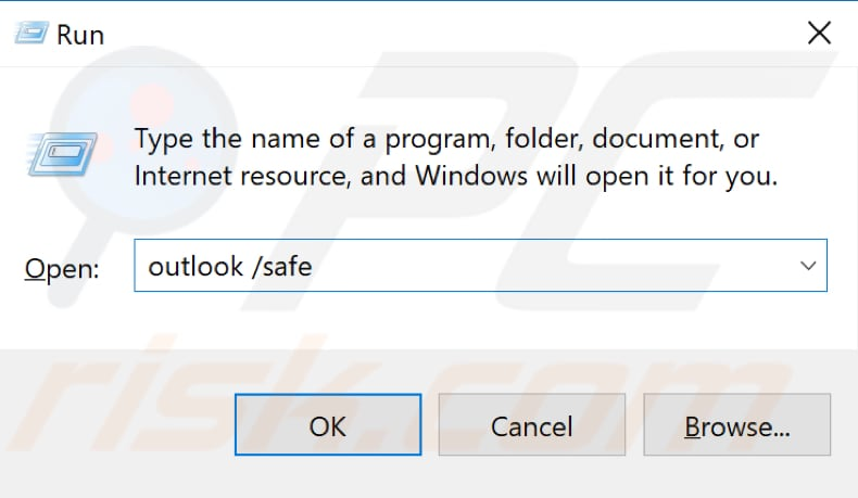 start microsoft outlook in safe mode step 1