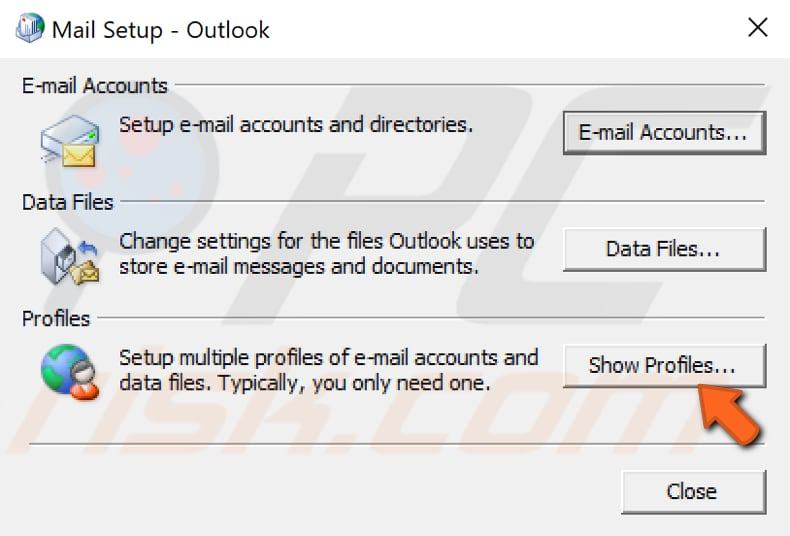 create new outlook profile step 3