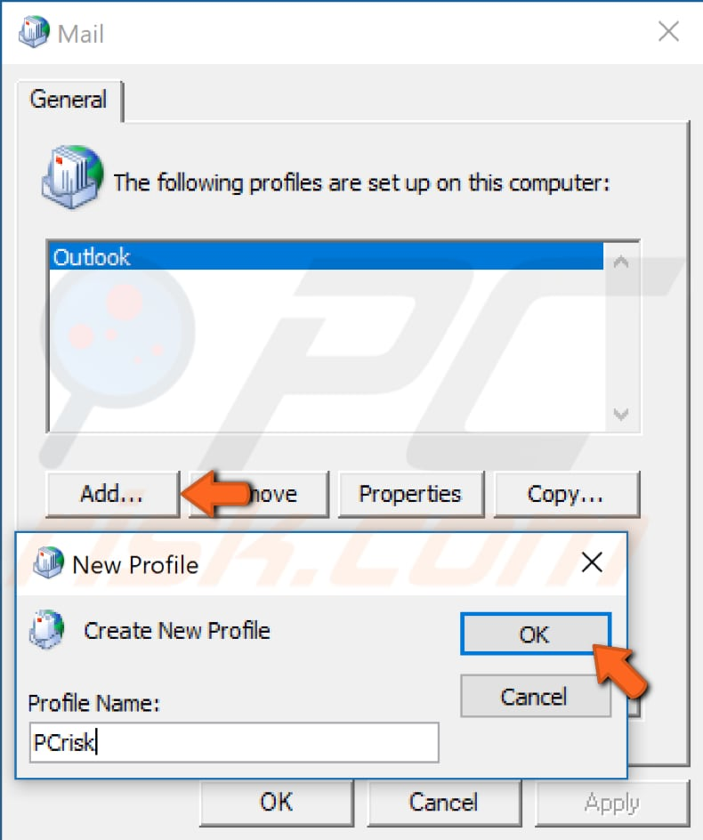 create new outlook profile step 4