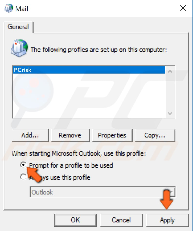 create new outlook profile step 5