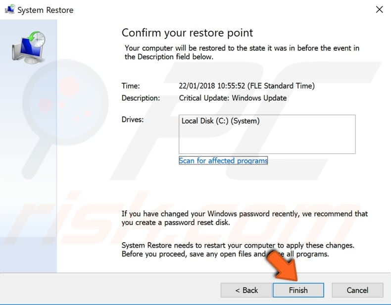 use restore points to restore your system step 4