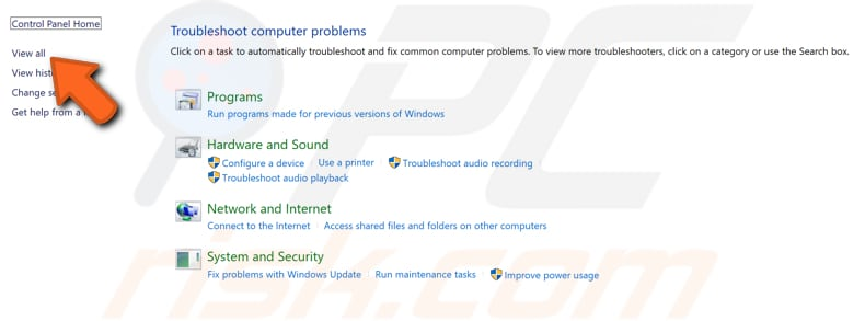 run windows troubleshooters step 2