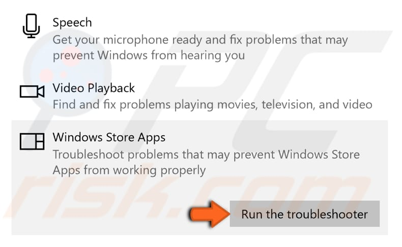 run windows apps troubleshooter step 2