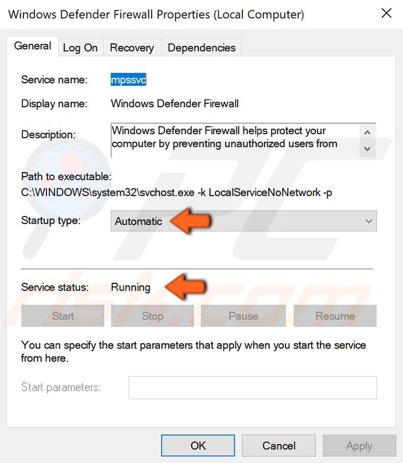 turn on windows 10 defender firewall