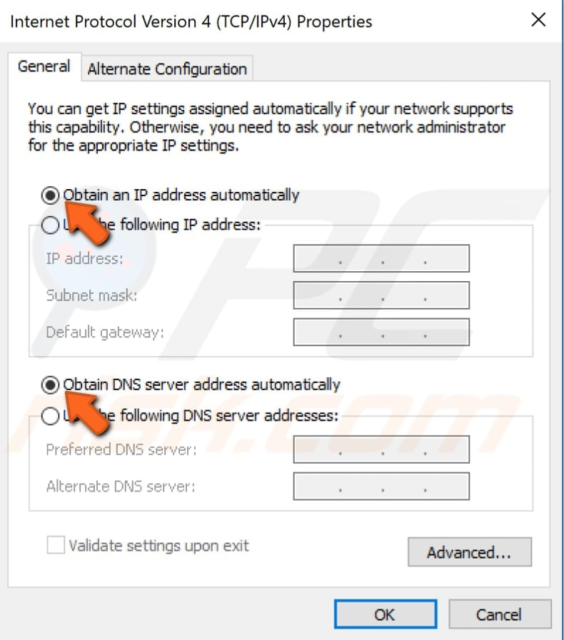 ethernet ip configuration invalid windows 10