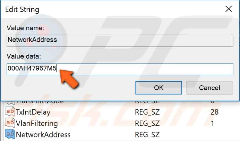 change your MAC address using registry editor step 5