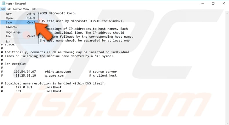 edit hosts file using notepad step 3