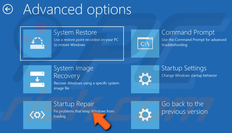 launch startup repair using your windows installation media step 3