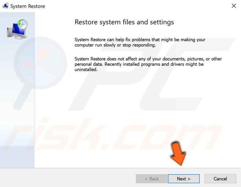 run system restore step 2