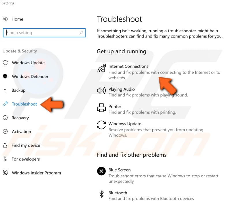 run network troubleshooter step 5