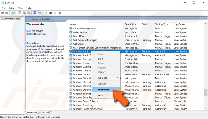 restart windows audio service step 3