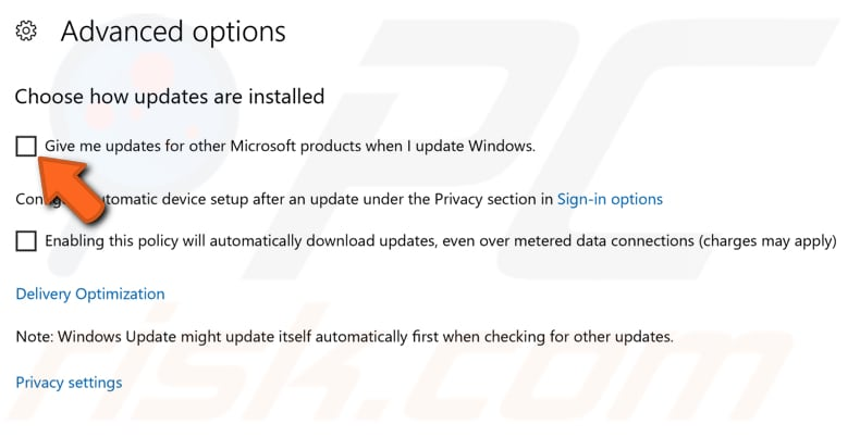 exclude other microsoft products from being updated step 3