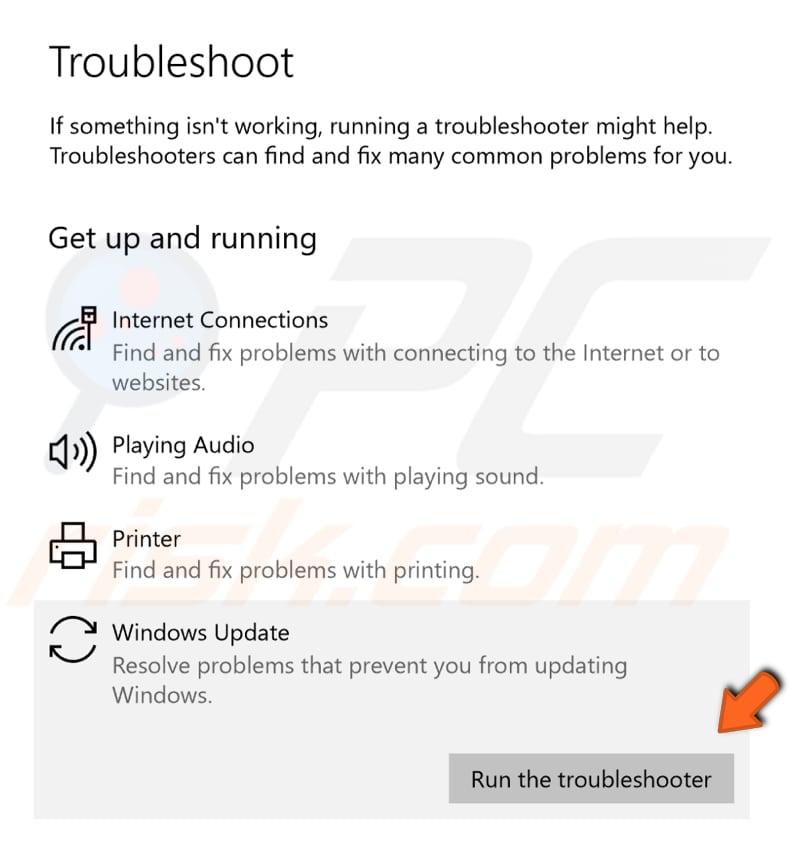 run windows update troubleshooter step 2