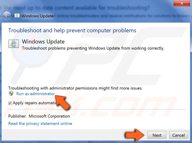 run windows update troubleshooter step 5