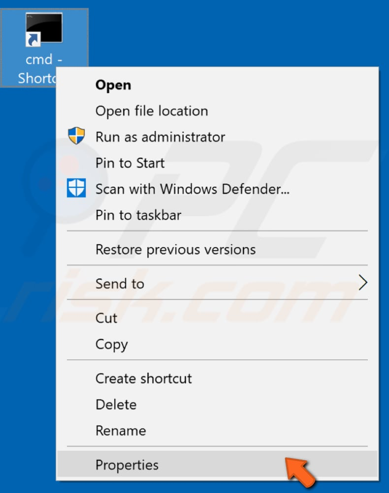 create elevated command prompt shortcut step 2