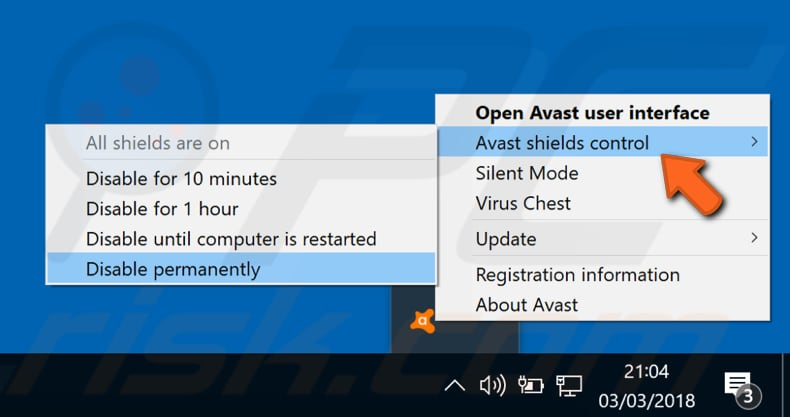 disable avast antivirus step 1