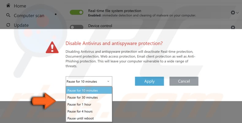 disable eset antivirus step 2
