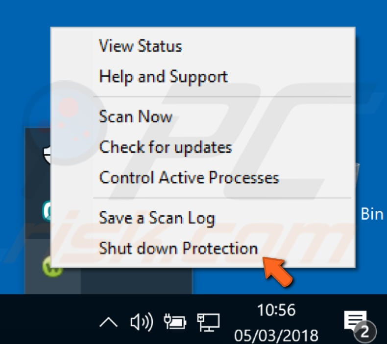 disable webroot antivirus step 1