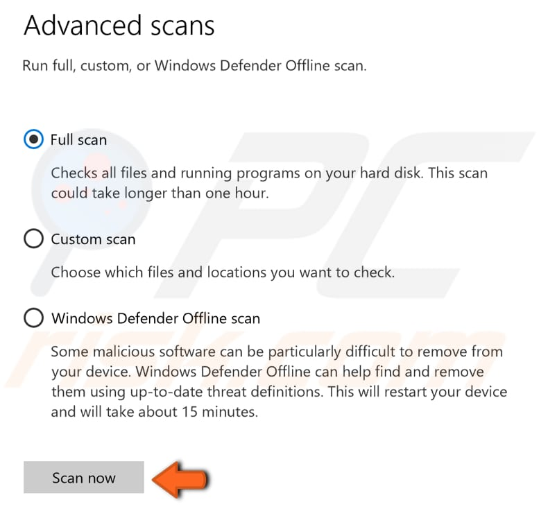 scan your system for malware step 3
