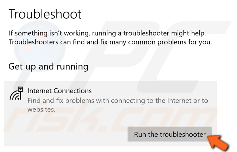 run internet connections troubleshooter step 2