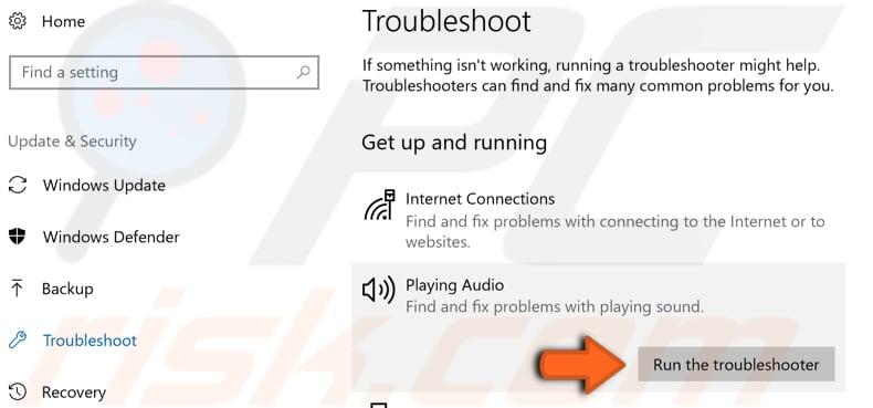 audio troubleshooter tool