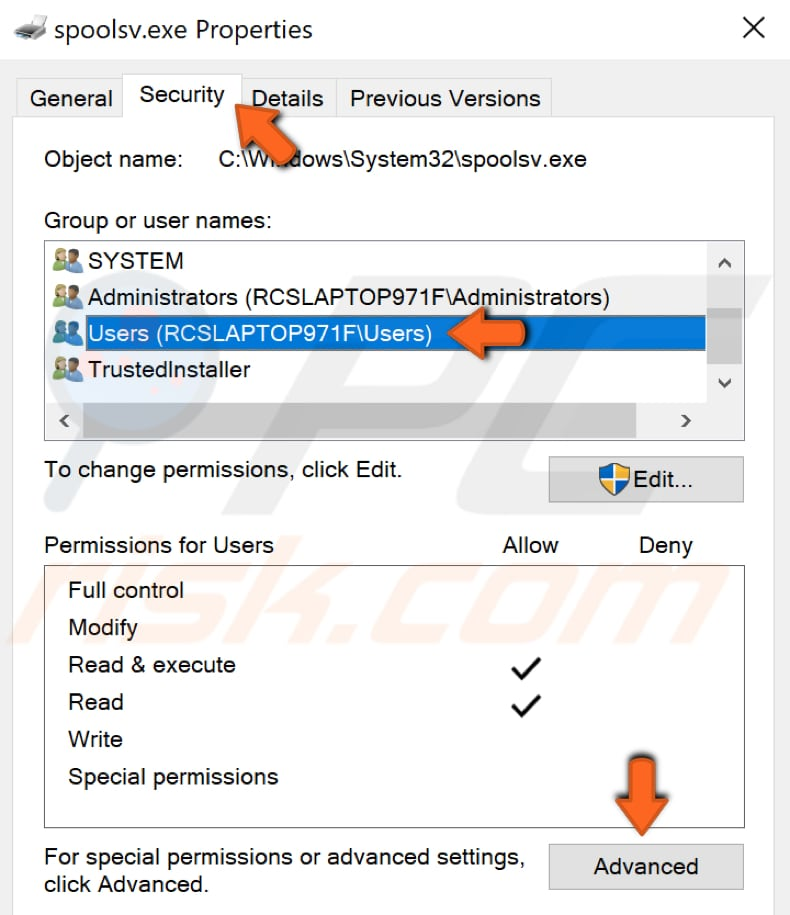 change advanced security settings for spoolsv.exe step 2
