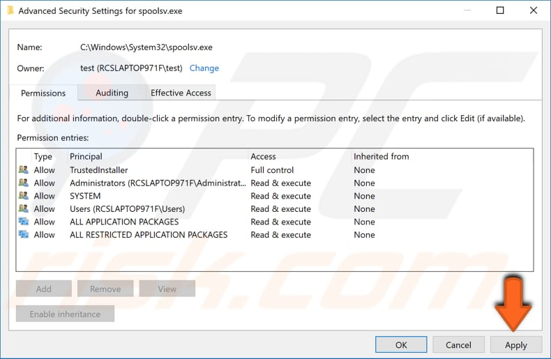 change advanced security settings for spoolsv.exe step 4