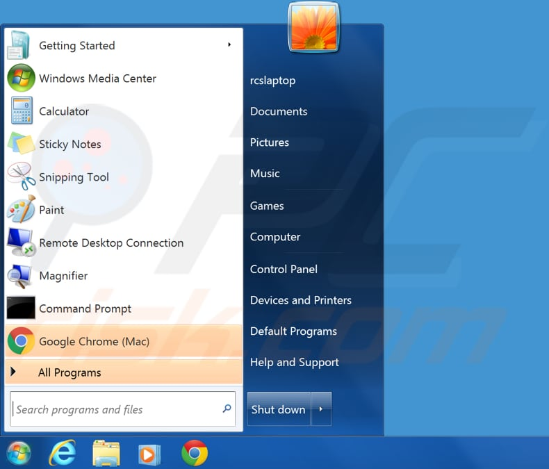 show hidden files in windows 7 step 1