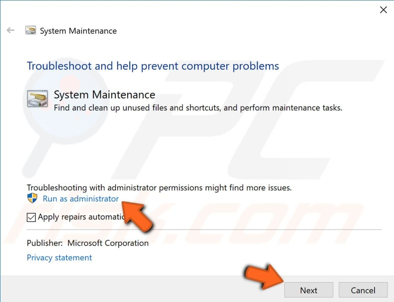 run system maintenance troubleshooter step 2