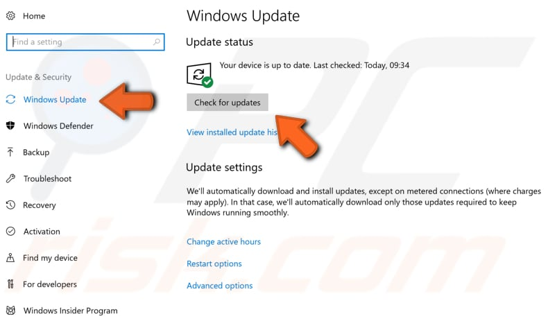 check for windows updates step 2