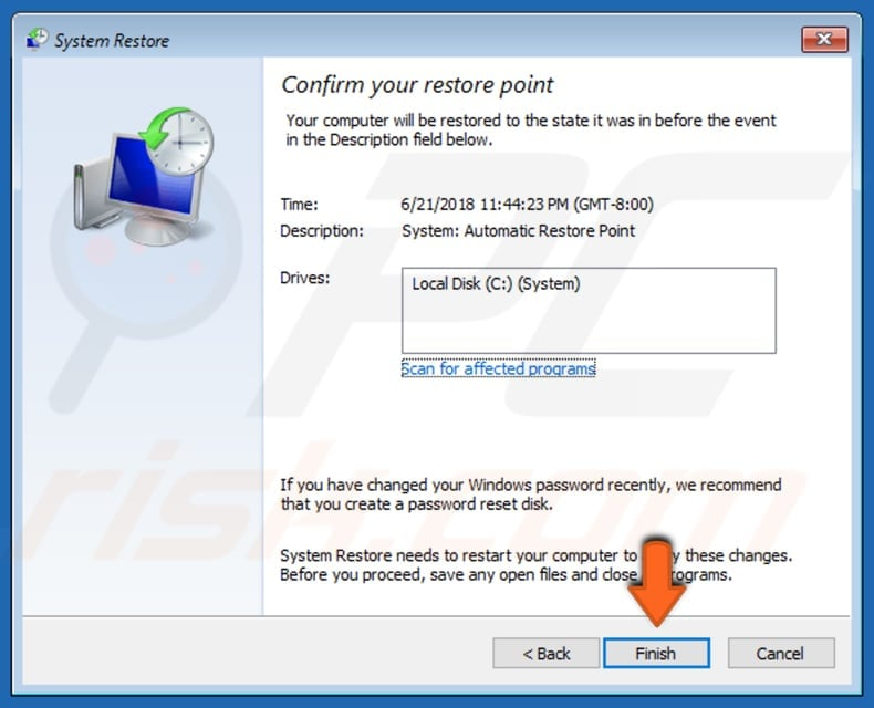 restore your system using restore points step 6