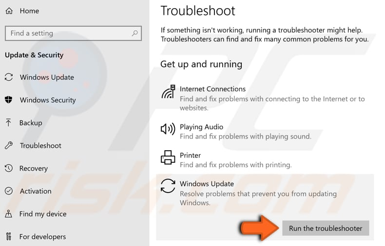 run windows update and bits troubleshooters step 2